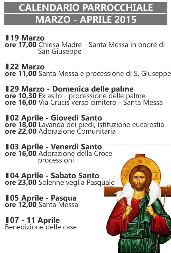 San Nicola Calendario.Calendario Parrocchia San Nicola Marzo Aprile 2015